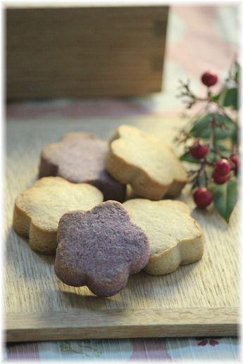 きなこ和三盆と紅イモ和三盆のクッキー。