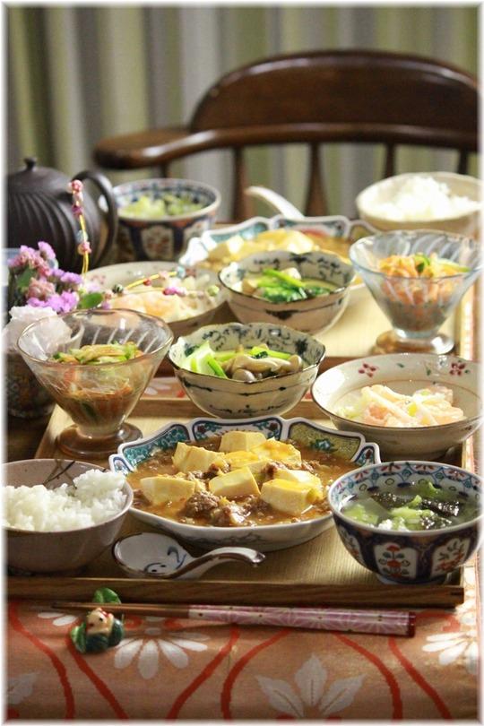 味噌ケチャ麻婆豆腐。 と 献立。