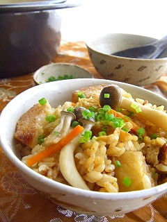 長芋ときのこの甘辛炊き込みご飯。