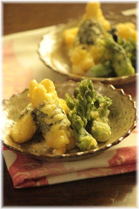 はんぺんと長芋の海苔巻天ぷら。と 献立。