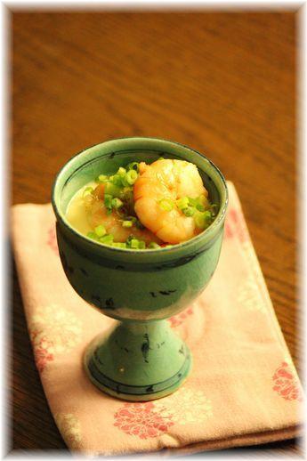 にんにく海老の味噌茶碗蒸し。 と 献立。
