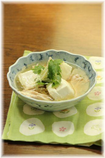 ササミとワサビの水晶豆腐。 と献立。