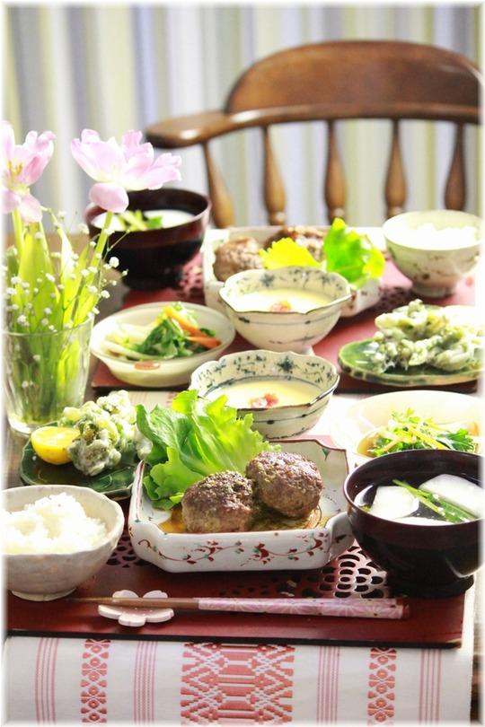ふきのとうの天ぷら。と 献立。