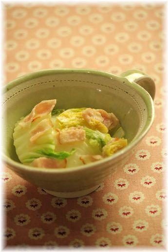 生姜ベーコンの蒸し白菜。 と献立。
