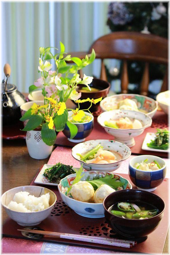 里芋とお豆腐の揚げ出し。 と 献立。