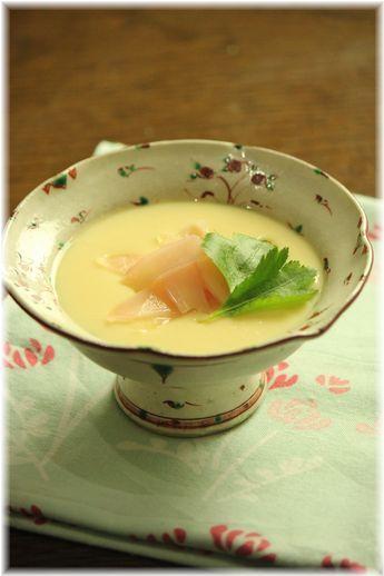 生姜の甘酢漬けのっけ の 茶碗蒸し。 と献立。