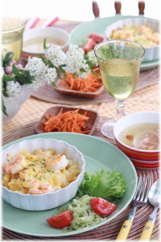 【レシピ】レンチン12分の マカロニグラタン。と お昼ごはん。 レモンの花とメレンゲ