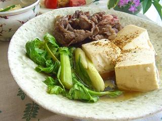 夏の肉豆腐。 と献立。