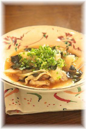 大根と豚肉の海苔キムチ煮。 と献立。