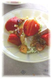 葱トマトにんにくの冷奴。 と献立。