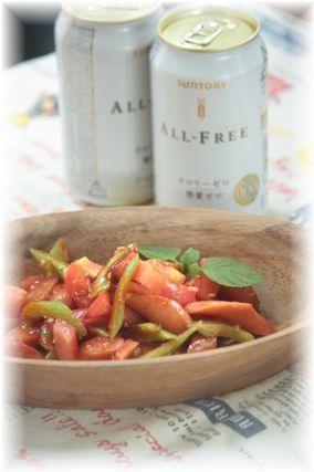 チョリソーのトマト蜂蜜炒め。