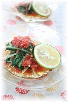 トマト麺つゆの お浸し。 と朝ごはん。