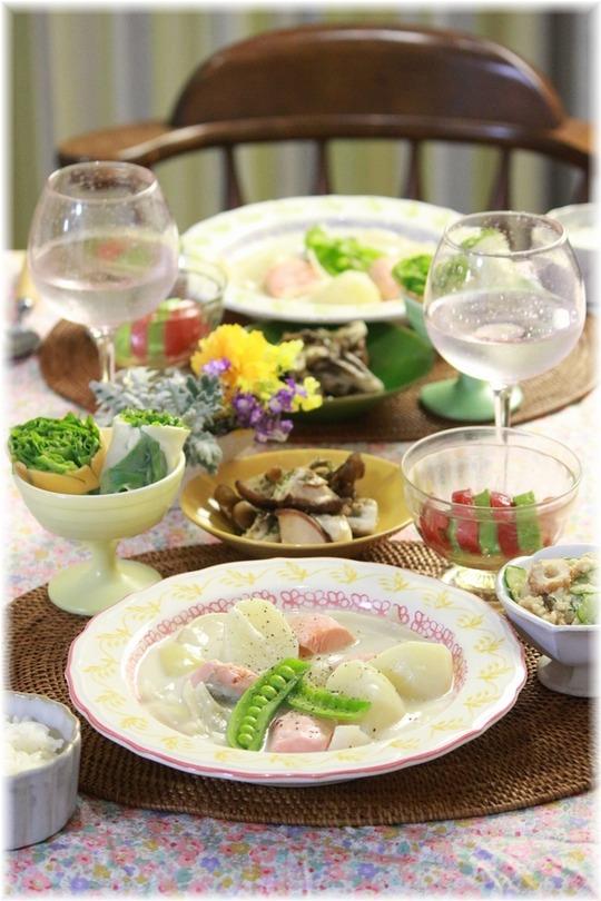 【レシピ】塩鮭のクリームシチュー。と 献立。お兄ちゃんと妹。