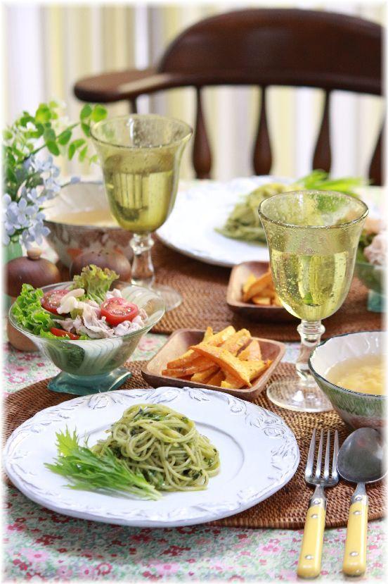 大葉と水菜のジェノベーゼ。 と 献立。少しだけ仕込み。