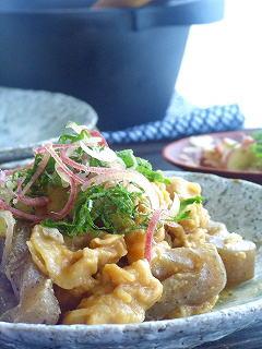 こんにゃくと豚肉の味噌煮・夏薬味のっけ。