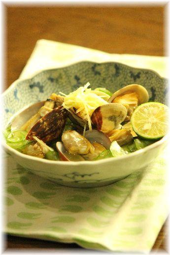 あさり と 生姜キュウリの サラサラ煮物。 と 献立。