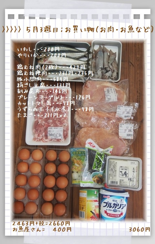 1aykog5月3週目お買い物(お肉・お魚)