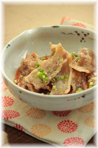 カリカリ豚肉の チリソース。 と 献立。