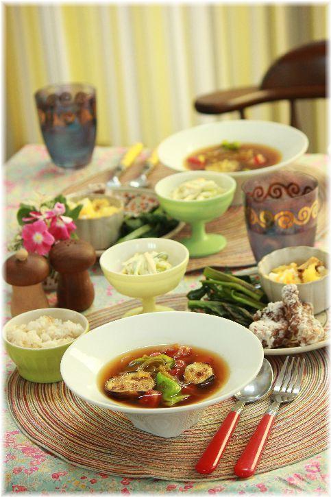 夏野菜スープカレー。 と 繋がるレシピ 献立。と 7月の お買いものまとめ。