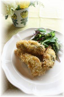 牡蠣フライ・カレー風味。 と献立。