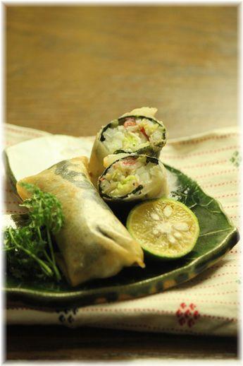 白菜と生姜の海苔春巻き。 と 献立。