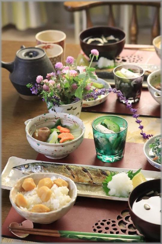 【献立】秋刀魚の塩焼きと栗ご飯の献立。と おでことか、はだしとか、ユニフォームとか。