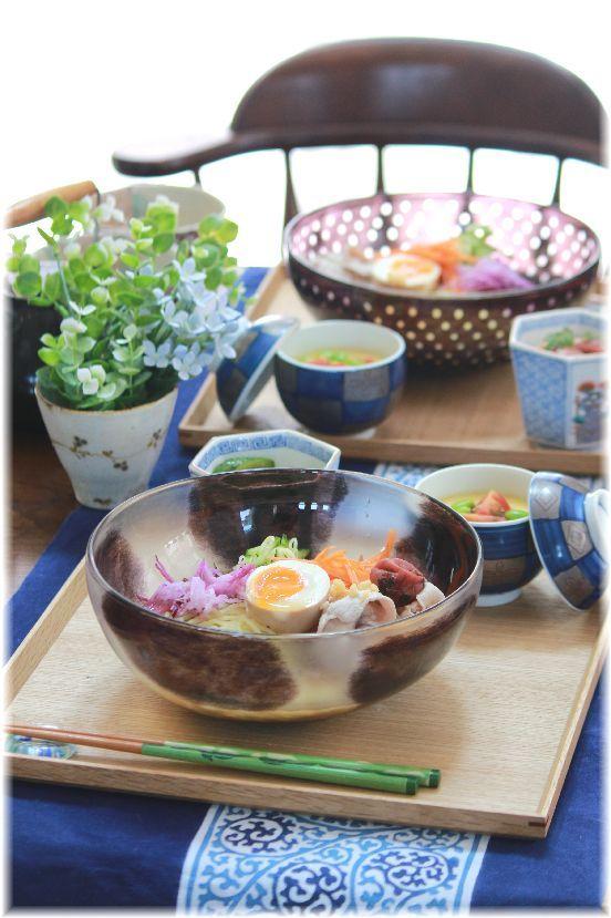 梅豚冷やし中華。 と お昼ごはん。