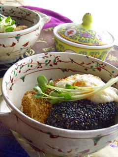 中華トロロ と ごま揚げ豆腐。