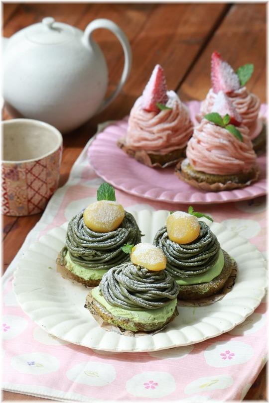 【レシピ】春のモンブラン♪桜モンブランと抹茶モンブラン。と 一緒にハナウタ。