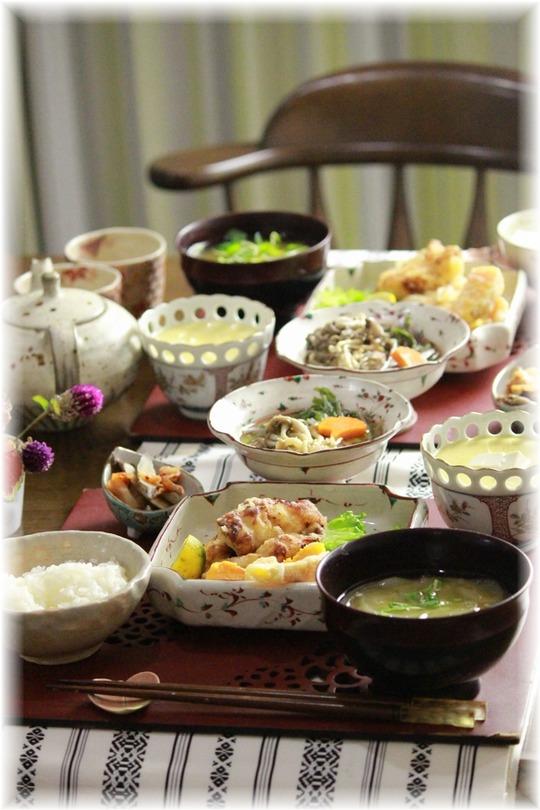 ヒトコトレシピ:西京鶏天。 と 献立。