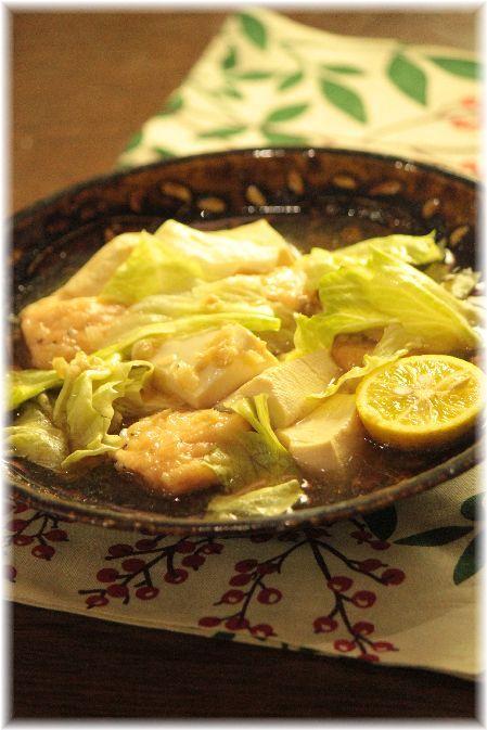 鮭レタス麻婆豆腐。 と 献立。