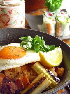 焼き葱とベーコンのエスニック炊き込みご飯。
