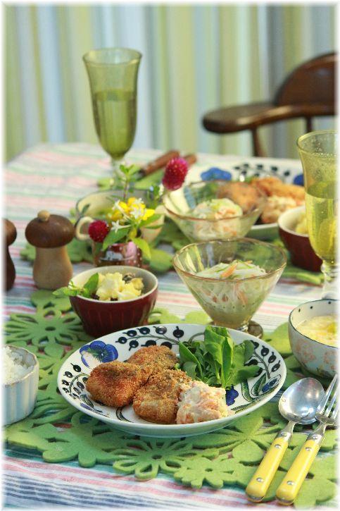 サーモンフライ 野菜タルタル。 と 献立。