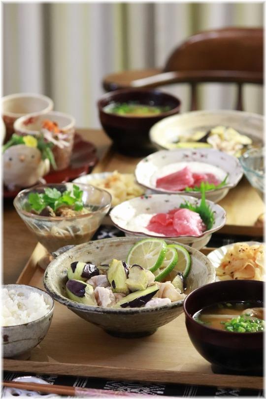 【レシピ】さっぱり!茄子と豚肉のわさび煮びたし。と 献立。と リハーサル。