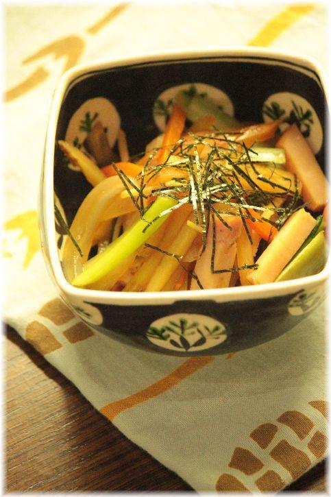 五目野菜のさっぱり煮。 と 献立。