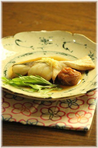 梅生姜煮魚。 と献立。