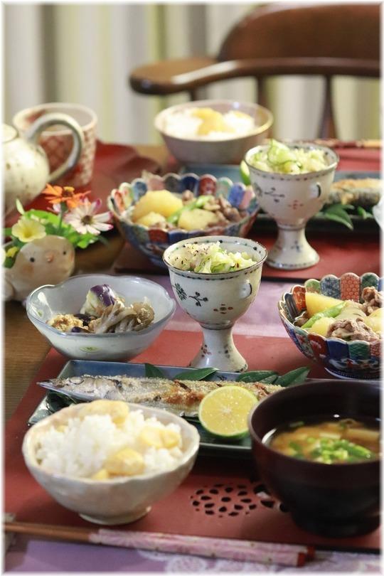 【献立】秋献立♪秋刀魚の塩焼き・栗ご飯。と 栗拾いその後。