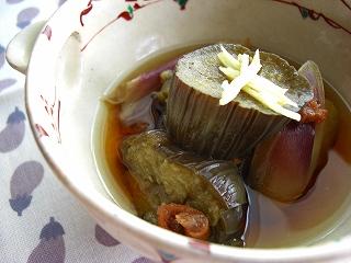 茄子の梅干煮。 と献立。