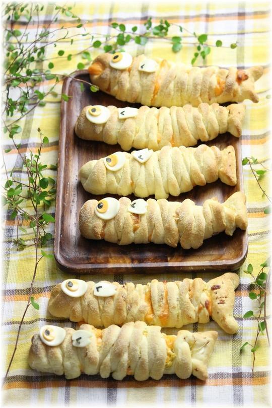 キャベツとツナの こいのぼりパン。