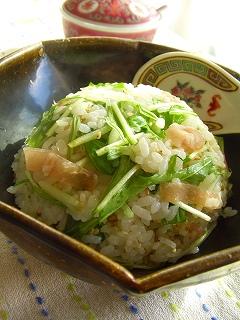水菜と生姜の炒めないチャーハン☆
