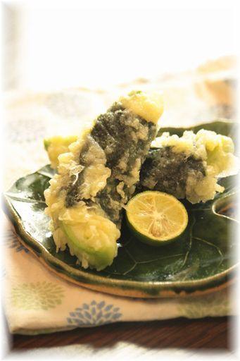 アボカドチーズの海苔天ぷら。 と献立。