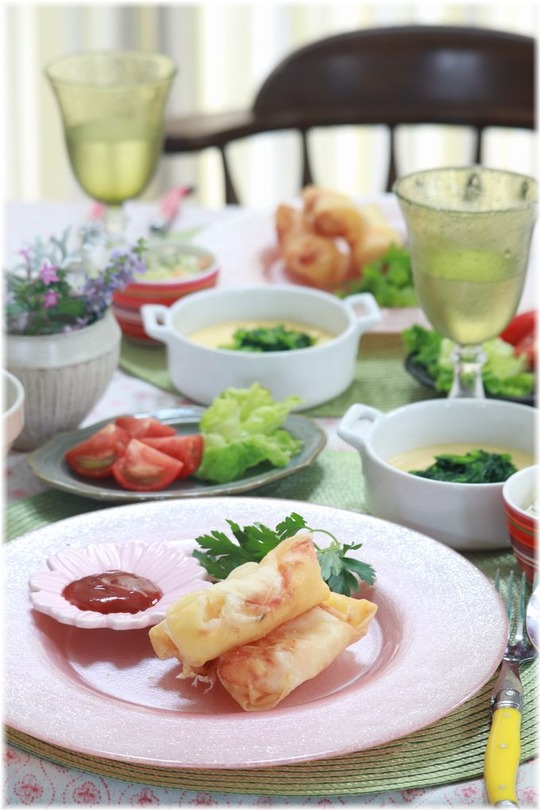【レシピ】海老チーズ春巻き。と 献立。いつものBGM