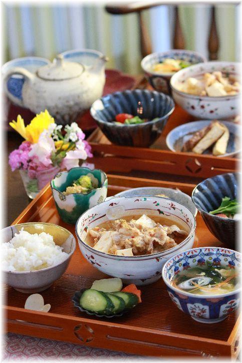 かつおだし の つゆだく麻婆豆腐。 と 献立。