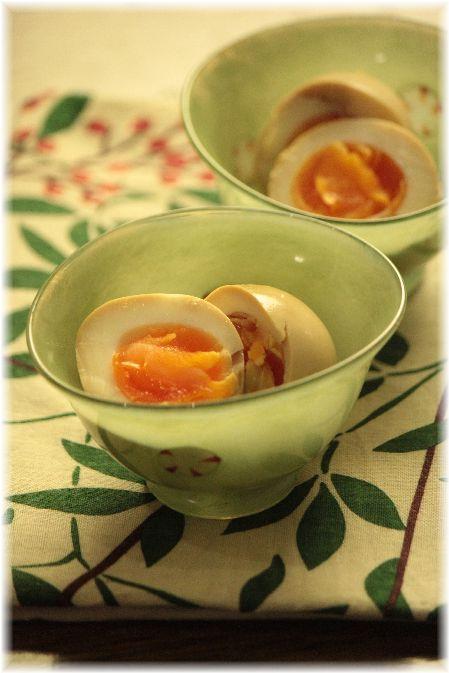柚子こしょう味玉。 と 七草粥の 朝ごはん。