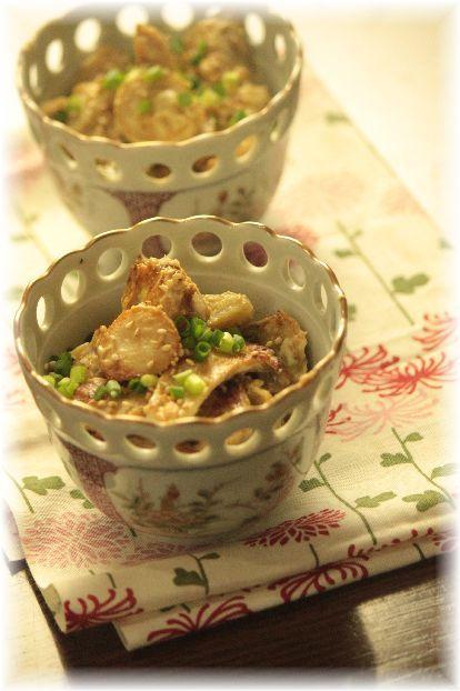 里芋とエリンギの 焼き味噌マヨサラダ。 と 献立。