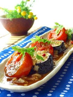 茄子とトマトのステーキ。