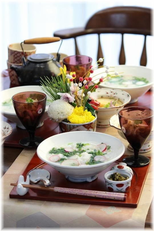 七草粥と朝ごはん。