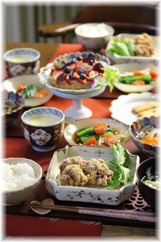 【レシピ】豚小間の紅生姜から揚げ。と 献立。と お誕生日おめでとう!