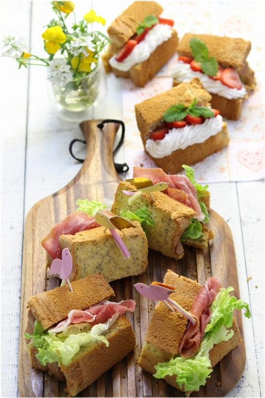 チアシードシフォンのサンドイッチ。