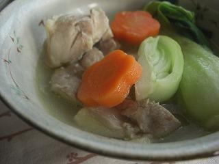 鶏と青梗菜の中華煮。 と 献立。